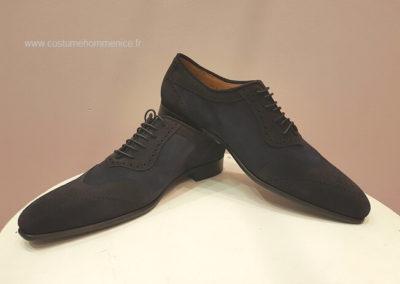 11867- daim bleu- chaussures en cuir personnalisables, fabriquées main - Caralys Nice