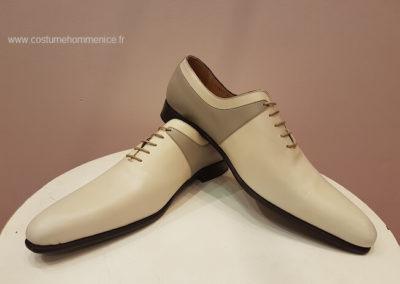 11869-beige et gris -- chaussures en cuir personnalisables, fabriquées main - Caralys Nice