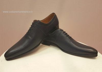 11869-bleu martelé- chaussures en cuir personnalisables, fabriquées main - Caralys Nice