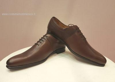 11869- marron- chaussures en cuir personnalisables, fabriquées main - Caralys Nice