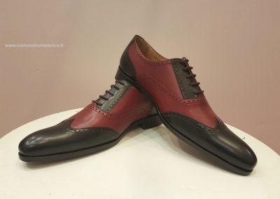 9417-bordeaux, noir- chaussures en cuir personnalisables, fabriquées main - Caralys Nice