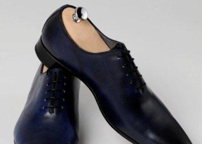 9634-bleu- chaussures en cuir personnalisables, fabriquées main - Caralys Nice