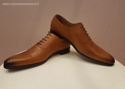 9679-miel satin et martelé- chaussures en cuir personnalisables, fabriquées main - Caralys Nice