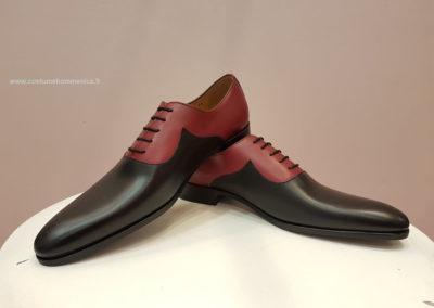 9679- bordeau et noir - chaussures en cuir personnalisables, fabriquées main - Caralys Nice