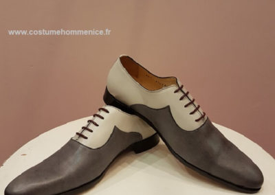 9679-  gris clair et foncé - chaussures en cuir personnalisables, fabriquées main - Caralys Nice