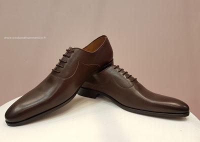 9679- marron foncé satin et martelé -chaussures en cuir personnalisables, fabriquées main - Caralys Nice
