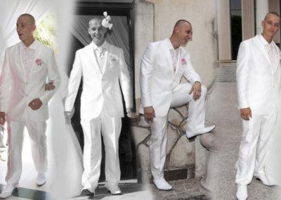 Adrien : 'Mariage le 7 septembre 2013. Un costume super agreable à porter pour une journée parfaite. Merci pour votre accueil, votre temps et vos bons conseils'. Adrien