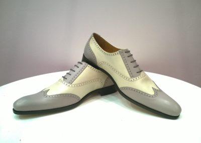 9417-beige gris- chaussures en cuir personnalisables, fabriquées main - Caralys Nice