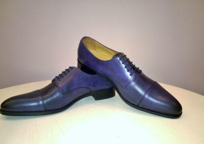 9058 bleu patiné - chaussures en cuir personnalisables, fabriquées main - Caralys Nice