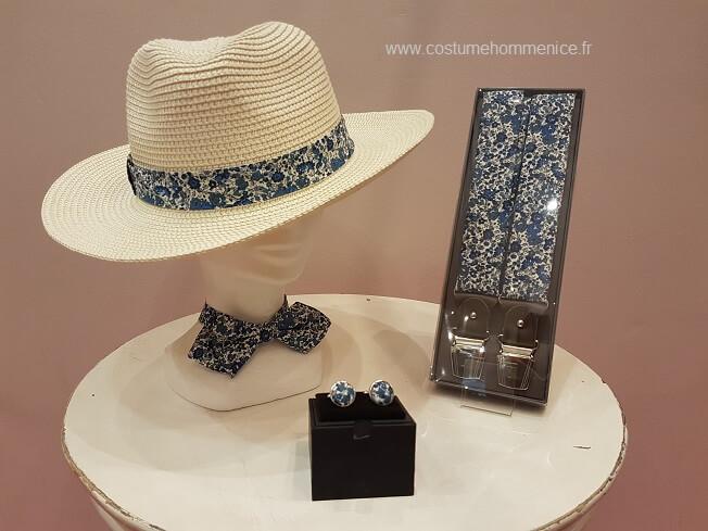Chapeau panama, noeud papillon et bretelles - réalisables sur commande dans 300 coloris - Caralys Nice