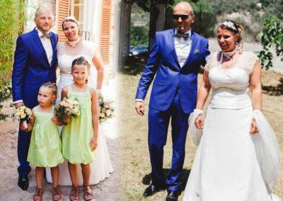 Franck et Aude : Mariage le 11 Juillet 2015 à Sospel avec un costume prêt à porter et la robe Victoria.« Comme promis voici quelques photos de notre belle journée, ce fut magique !! Le costume et la robe ont eu énormément de succès !! Encore merci pour votre accueil, vos conseils et votre gentillesse. Franck et Aude »