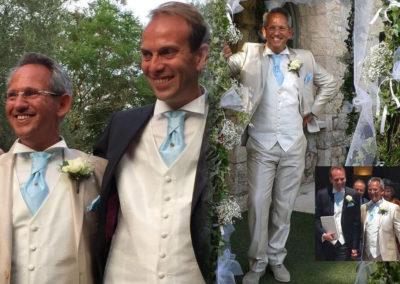 Frédéric et Laurent : Mariage le 16 Juin à Antibes. « Bonjour Gabriella ! Ça y est le mariage a eu lieu !! C'était magique et les tenues ont bien plu… Merci beaucoup. Frédéric et Laurent »