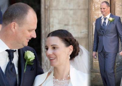 """Morgan : Mariage le 13 Août 2016 avec un costume prêt à porter.« Nous sommes heureux de vous faire partager ces photos. Le costume était parfait, (nous avons fait sensation !!), très agréable à porter, et ce malgré la chaleur ! Nous vous remercions encore pour vos conseils dans notre achat et aussi, pour votre chaleureux accueil !"""" Morgan »."""