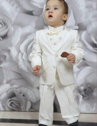 Costume smoking bébé  3 pièces blanc naturel - Caralys Nice