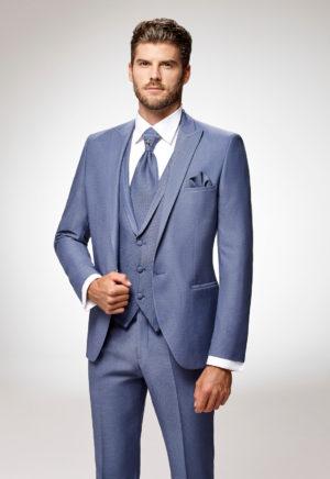 Costume de marié 3 pièces bleu jean