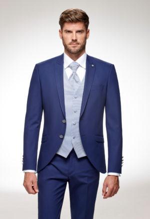 Costume de marié 3 pièces bleu roi