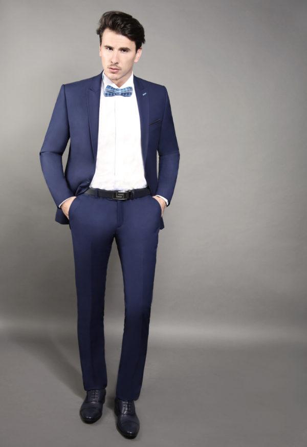 Costume de marié 2 pièces bleu foncé soldé