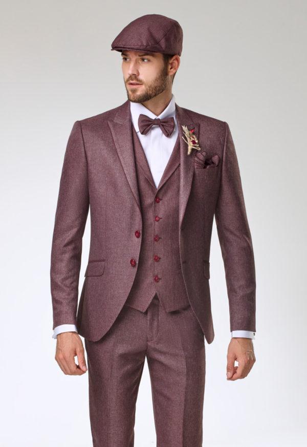 Costume de marié 3 pièces bordeaux